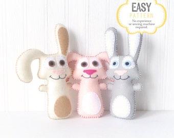 50% Off - Bunny Sewing Pattern, Felt Rabbit Pattern, Easter Bunny Plushie, Rabbit Softie, Stuffed Animal, Stuffed Bunnies