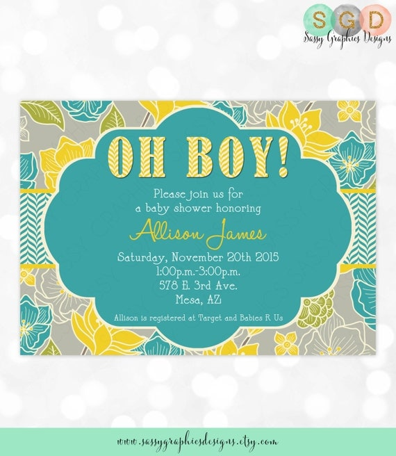 Boy Baby Shower Invitation Baby Boy Invitation Teal Yellow Gray