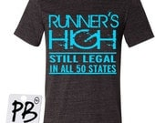 Running tee for men - men's running shirt - Runner's high legal in all 50 sates, t-shirts