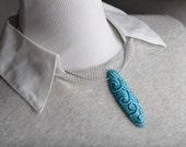 Ceramic Sliptrailed Jewelry Pendant Necklace by Symmetrical Pottery
