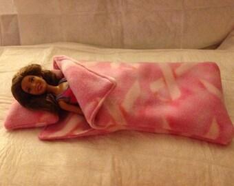 Pink Cancer awareness ribbon printed Fleece sleeping bag & pillow set for Fashion Dolls - bsb18