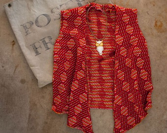 1970s . red open front boho sweater vest . x small