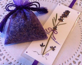 Lavender Gift Set, Dried Lavender Sachet, Pressed Lavender Bookmark, gift for her, aromatherapy gift, Mother's Day Gifts
