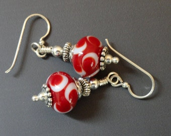Lampwork Earrings, Red and White, Moon Earrings, Silver Earrings, Flamework, Red Dangles, Handmade Beads, Emerald City Glass, Marcie Page
