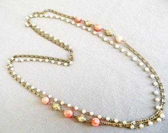 Vintage Two Strand Necklace, Orange Pearl Beads Goldtone Chain