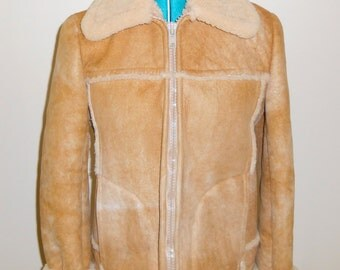 Vitntage 1990s NORM THOMPSON The Sheepskin Shop shearling and suede zip-up bomber jacket / coat, size Medium