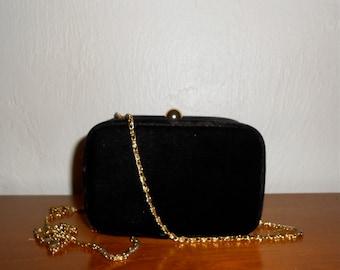 Vintage 1990s black velvet crossbody box purse / clutch with gold chain