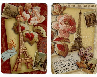 LETTERS FROM PARIS (2) Single Swap Playing Cards Paper Ephemera Scrapbook Supplies