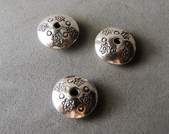 Thai Sterling Silver Beads, 1 Bead, Hand Stamped Daisy Spacer Bead, 13mm, 2mm Hole