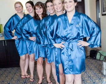Bridesmaid Robes, TEAL, wedding robes, bridesmaid silk robe, dressing gown, personalized silk robe, kimono robes, floral robe, bridal robe