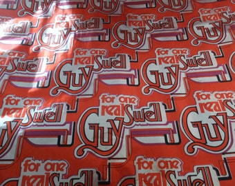 Vintage Disco 70's 80's For One Real Swell Guy Orange Silver Foil Gift Wrap Wrapping Paper
