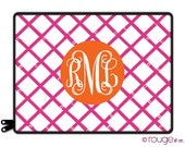 "personalized laptop sleeve 13"" or 15"" in BAMBOO REV - monogram - NEW elastic tabs give you the option to keep the sleeve on while you work"