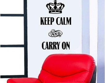 15% OFF Keep calm and carry on -Vinyl Lettering wall words graphics Home decor itswritteninvinyl