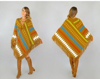 WINTER SALE 70's Angular Knit Poncho