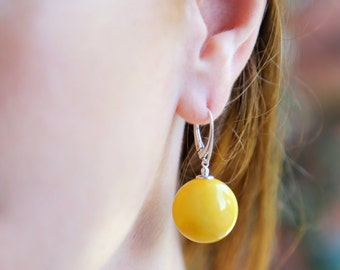 "Baltic Amber Jewelry Earrings Round Ball Antique Butterscotch Reconstructed 1.5"" 20 mm"
