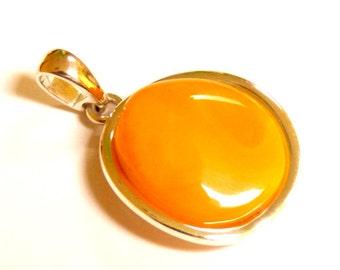 """Baltic Amber Butterscotch Pendant Yolk Natural 1.5"""" 7.4 gram 925 Silver"""
