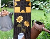 Quilted Wall Hanging, Miniature Quilts, Primitive Gatherings Sunflower, Mason Jar and Pumpkin