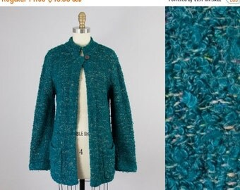 SALE 1980s Vintage Teal Boucle Speckled Sweater Cardigan (S, M)
