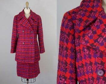 1960s Vintage ADELE SIMPSON Wool Suit. 60s Vintage Wool Jacket and Skirt (M)