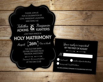 10 Black Tie Wedding Invitations - Ornate Wedding Suite - Formal Die Cut Invitations - RSVP cards available