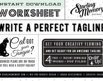 DIY TAGLINE WRITING Worksheet - Business Writing - Business Branding - Marketing Worksheet - Writing Worksheet - Business Worksheet