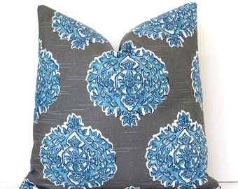 Cerulean and Gray Medallion Decorative Designer Pillow Cover accent cushion navy ikat leaf leaves geometric floral sky blue boho charcoal