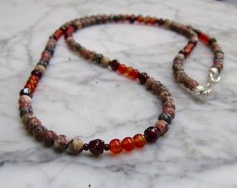 Earth Tones  - Petite 4mm Genuine Garnet, Carnelian and Leopard Skin Jasper Lower Chakra Necklace