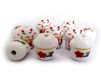 10Pcs Porcelain Lovely Cat Face Meng-Xiang-Cheng-Zhen Beads Finding 16m*14mm*10mm  ja164