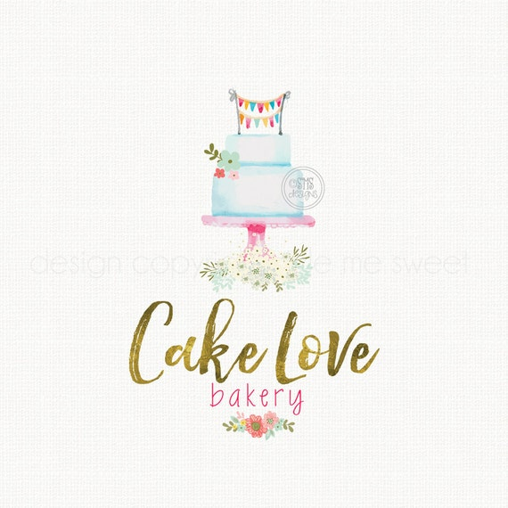 Vintage Cake Logo Design : Cake Logo Watercolor Logo Design Premade by ...
