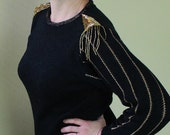 80's Tassel Sweater - Tacky Ugly Sweater - Black and Gold Beaded - Beverly Goldberg - Epaulet Shoulder