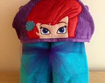 Water Princess Hooded bath towel