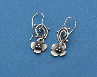 Sterling Silver Forget-Me-Not Flower Earrings With a Spiral
