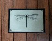 Sample Small Sage Green Black Dragonfly Dog Cat Floor Cloth