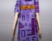 Pullip clothes - purple smock dress with gold trim sewn-in belt