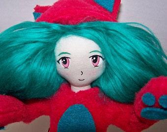 Cloth doll, fabric doll, OOAK doll, hand-made, cat girl, kawaii