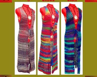 1 Womens Long Vest, Boho Maxi Vest, Boho Clothing, Plus Size Clothing, Hippie Vest, Crochet Vest, Festival Clothing, Bohemian, Boho Chic