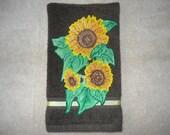 Sunflower Kitchen Hand Towel, Sunflower Bathroom Hand Towel, Appliqued Sunflower Trio Hand Towel, Brown Sunflower Hand Towel, Summer Decor