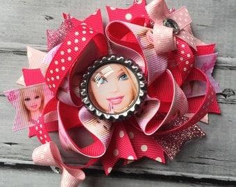Girls Layered Barbie Hair Bow Barbie Hair Clip Barbie Hair Bow Barbie Inspired  Birthday Bow Barbie Hair Bow Barbie Clip