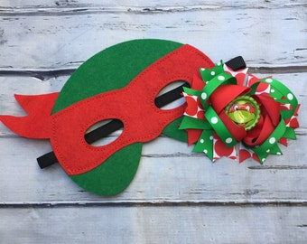 Girls Layered Raphael Hair Bow and Mask Raphael Hair Clip and Felt Mask ninja turtle hair bow and mask set Raphael hair bow
