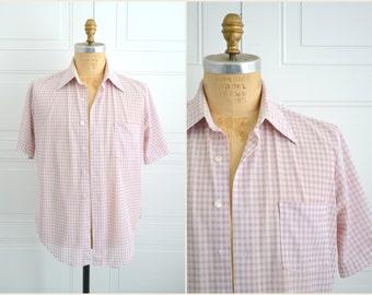 1970s Lavender Gingham Shirt
