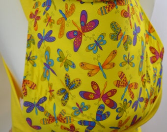 MEI TAI Baby Carrier / Sling  / Reversible / Yellow Butterflies with Yellow / Cotton / made in UK / Handmade