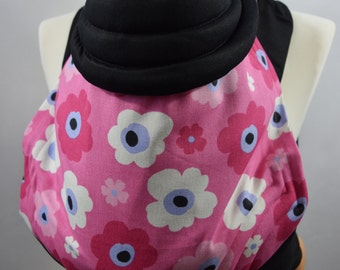 MEI TAI Baby Carrier / Sling  / Reversible / Dreamy Flowers with Black / Straight cut model