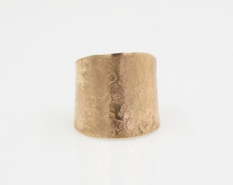 Sterling Silver Lined Silk Pattern Hammered Brass Cuff Ring - Adjustable Ring