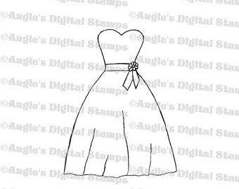 Dress Digital Stamp Image