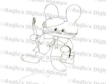 Painting Rabbit Digital Stamp Image