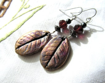 Earrings Rhododendron Leaf with Glass, Pewter, Hematite Bead on Sterling Silver Wire on Hypoallergenic Shepherd Hooks