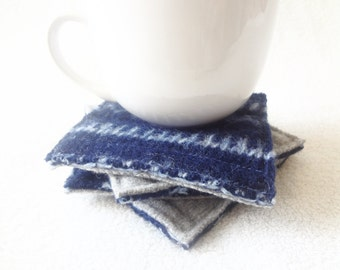 Coasters NAVY & SKY BLUE with Gray / Upcycled Mug Rugs / Felted Wool Coasters / Blue Coasters Ecofriendly Home Decor Gift by WormeWoole
