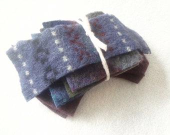 Felted Sweater Wool Coordinating Scrap Pack BLUE & BURGUNDY Fabric Scraps Felted Wool Pieces Destash Craft Supplies from WormeWoole