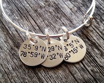 Latitude Bracelet - Latitude Longitude Bracelet - Coordinates Bracelet - Gift For Mom - Gift for Girlfriend - Silver Bangle - Location