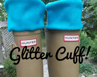 Glitter Cuff, Fleece Rain Boot Liners, Turquoise Sock, Boot Accessories, Size /med/Lrg 9-11 Boot Size